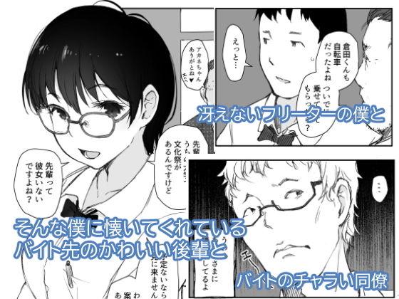 「ショートカットで眼鏡の似合う人懐こいバイトの後輩がヤリチン同僚の車で送られてから無断欠勤している」 冴えないフリーターの主人公・倉田と女子大生の後輩・茜。